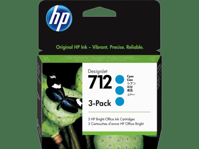 Pack de 3 Cartuchos de Tinta HP 712 Cian de 29 ml