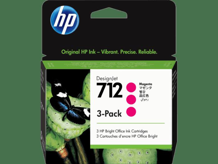Pack de 3 Cartuchos de Tinta HP 712 Magenta de 29 ml