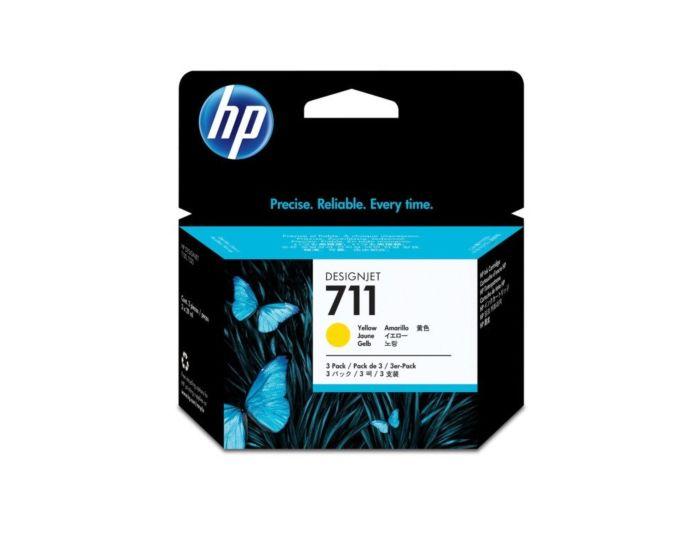 Pack de 3 Cartuchos de Tinta HP 711 Amarillo de 29 ml DesignJet