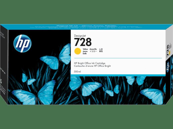 Cartucho de Tinta HP DesignJet 728 Amarillo de 300 ml